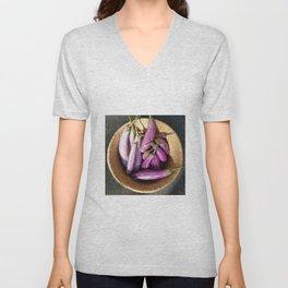 Asian Eggplant in a Basket Unisex V-Neck