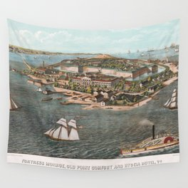 Vintage Pictorial Map of Fort Monroe Virginia Wall Tapestry