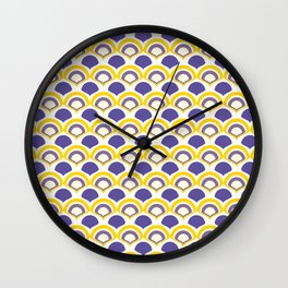 art deco pattern in shades of purple and yellow Wall Clock