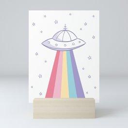 Colorful rainbow space ufo Mini Art Print