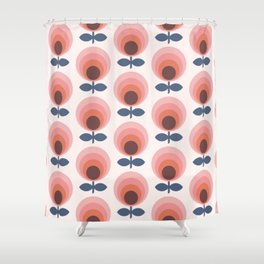 Mid century circle gradient flowers pattern on products Shower Curtain