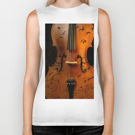 Cello bird music Biker Tank
