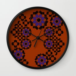 Zellige composition - purple and or Wall Clock