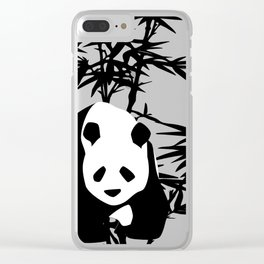 Giant Panda Bear and Bamboo Tree Clear iPhone Case