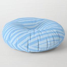 Sky Blue Brush Stroke Stripes Floor Pillow
