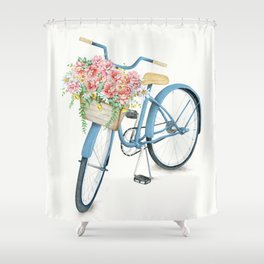 Blue Bicycle with Flowers in Basket Shower Curtain