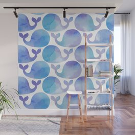 Pattern with cute watercolor whales Wall Mural