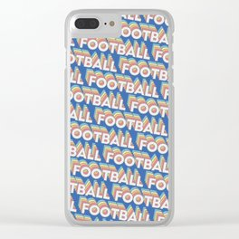 Football Trendy Rainbow Text Pattern (Blue) Clear iPhone Case