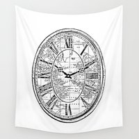 wall clock Wall Tapestries featuring Clock by Mr & Mrs Quirynen