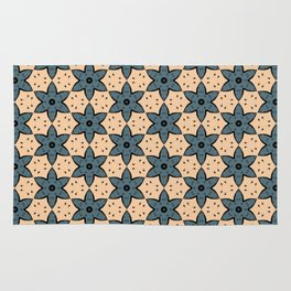 Blue Flower Kaleidoscope Pattern on Beige Background Rug