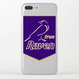 True Raven American Football Design black lettering Clear iPhone Case