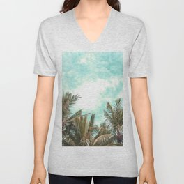 Wild and Free Vintage Palm Trees - Kaki and Turquoise Unisex V-Neck