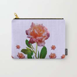 GREEN COLOR   CORAL  PINK ROSES BOTANICAL ART Carry-All Pouch