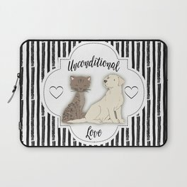 Unconditional Love Cat and Dog as Family Members Stripes Laptop Sleeve
