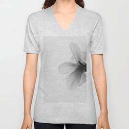 The Single Flower (Black and White) Unisex V-Neck