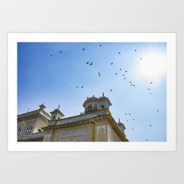 Pigeons Flying through the Sun in front of Chowmahalla Palace in Hyderabad, India Art Print