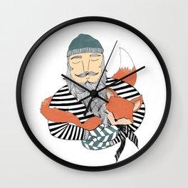 Man and fox. Wall Clock