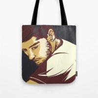 zayn malik Tote Bags featuring Malik by Rosketch