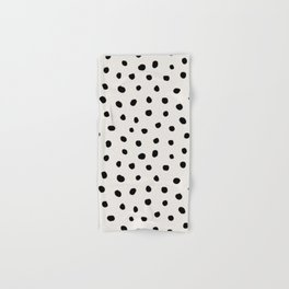 Modern Polka Dots Black on Light Gray Hand & Bath Towel
