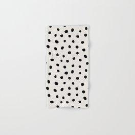 Modern Polka Dots Black on Light Gray Hand & Bath Towel