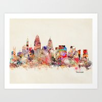 cincinnati Art Prints featuring cincinnati ohio  by bri.buckley