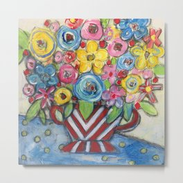 Red White and Blue Floral Metal Print
