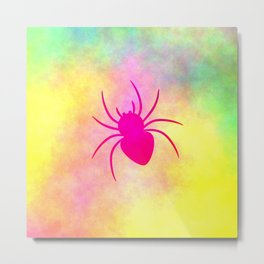 Pink spider under colorful clouds Metal Print
