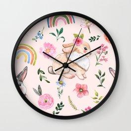 Cute rabbits and plants pattern Wall Clock