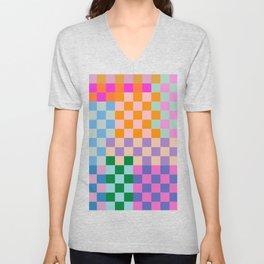 Checkerboard Collage Unisex V-Neck
