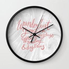 Wanderlust Words - Pink on Marble Wall Clock