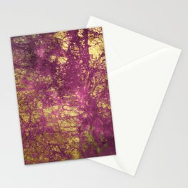 Pink-Magenta Elegant Marble With Ornate Gold Veins Stationery Cards