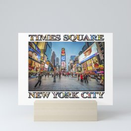 Times Square Sparkle (with typography) Mini Art Print