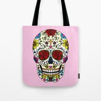 sugar skull Tote Bags featuring Sugar Skull by Jade Boylan