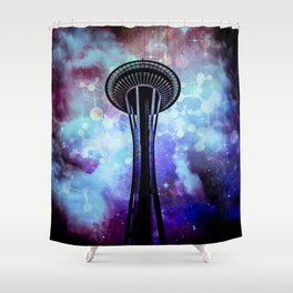Space Needle - Seattle Stars Clouds Fog Shower Curtain