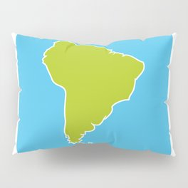South America map blue ocean and green continent. Vector illustration Pillow Sham