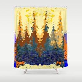 Spruce Trees Forest Browns-sage Green Modern Landscape Shower Curtain