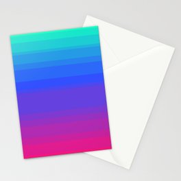 Mint, Blue, & Magenta Uneven Stripes Stationery Cards