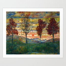 Four Trees with Red Leaves at Sunrise landscape painting by Egon Schiele Art Print