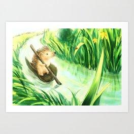 Hedgehog on a journey Art Print