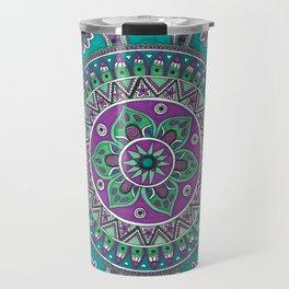 Purple and Green Mandala Art Travel Mug