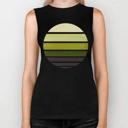 Olive Green Mid Century Modern Minimalist Circle Round Photo Staggered Sunset Geometric Stripe Desig Biker Tank