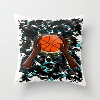 basketball Throw Pillows featuring  BasketBall  by Marven RELOADED