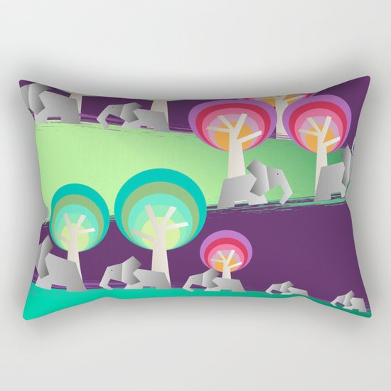 Walking With Elephants Rectangular Pillow