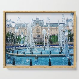 blue palace fountain Serving Tray