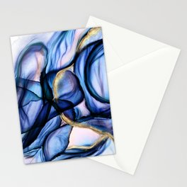 Mesmerize - Indigo, Cerulean, and Pale Pink Abstract Stationery Cards