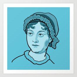 Jane Austen Blue Art Print