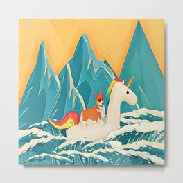 Corgi and the rainbow unicorn Metal Print