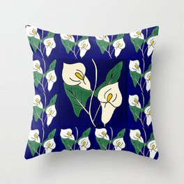 TALAVERA MEXICAN TILE WITH A FLOWER IN BLU Throw Pillow