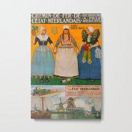 Chemin de fer de l etat neerlandais Vintage Travel Poster Metal Print