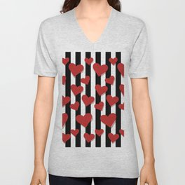 Red Hearts pattern with vertical black lines Unisex V-Neck